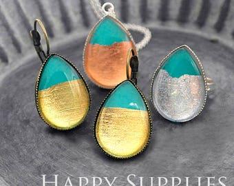 Handmade Golden / Silver / Rose Gold Foil Turquoise Teardrop Glass Cabochon (TFG07)