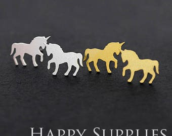 Nickel Free - High Quality Horse Dual-used Golden / Silver Brass Earring Post Finding with Ear Stud Stopper (ZEN130)