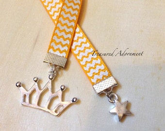 Bookmark, Ribbon Bookmark, Crown and Star Bookmark, Yellow Chevron Ribbon Bookmark, Book lover, Princess party, Thank you gift for teacher