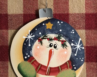 Adorable Over the Moon Snowman Hand  Painted Wood Christmas Ornament