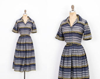 Vintage 1950s Dress / 50s Cotton Striped Cotton Shirtdress / Grey Blue and Yellow (M L)