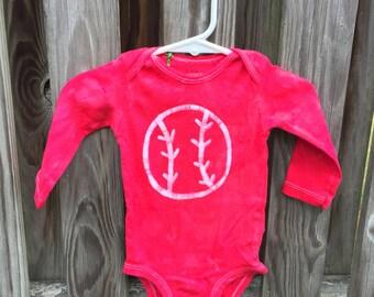 Baseball Baby Gift, Baseball Baby Bodysuit, Red Baseball Bodysuit, Baby Shower Gift, Sports Baby Gift, Baby Baseball Bodysuit (6 months)