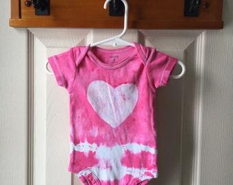 Pink Baby Bodysuit, Heart Baby Bodysuit, Tie Dye Baby Bodysuit, Girls Baby Bodysuit, Baby Bodysuit Gift, Baby Shower Gift (3 months)