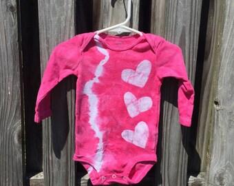 Pink Baby Bodysuit, Baby Girl Gift, Baby Shower Gift, Pink Hearts Baby Bodysuit, Tie Dye Baby Gift, Baby Girl Bodysuit (9 months)