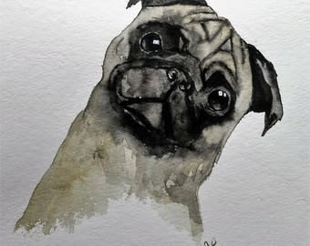 Watercolor dog painting, Pug art,  dog print, watercolor painting, pug dog painting, watercolor animals, dog painting
