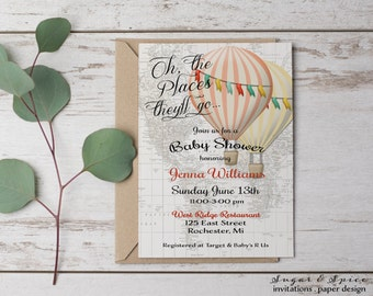 Hot Air Balloon Invitation, Twin Baby Shower Invitation, Printable Baby Shower Invitation, Baby Shower Invitation