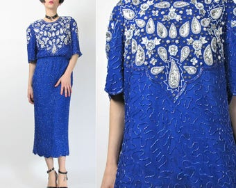 1980s Sequin Dress Set Top and Skirt Blue Silk Sequin Dress Fancy Cocktail Party Evening Beaded Dress Trophy Sequin Blouse Outfit M E3079