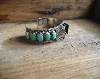 1960s Zuni Fred Weekoty silver turquoise watch band cuff (ready to add watch), Native American Indian jewelry Women's watch band, Zuni cuff