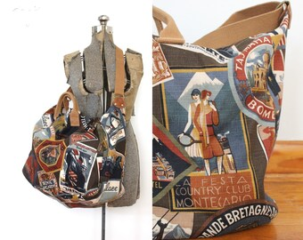 90s Weekender Bag / 1990s Vintage Style Canvas World Traveler Postcard Novelty Luggage