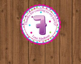 7th Birthday Favor Tag, Seventh Birthday Favor Tag, 7th Birthday Party, Girls Birthday Party Tag