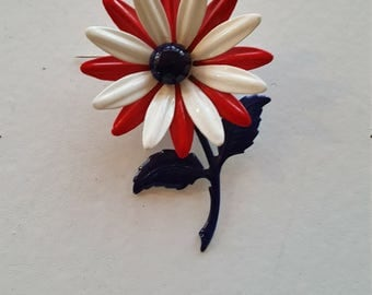 Enamel Red, White and Blue Vintage Flower Pin/ Brooch with Stem