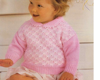 Vintage Knitting Pattern Baby Sweater DK 18-22 inch chest Download