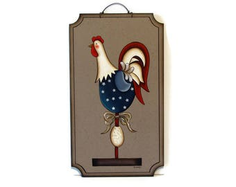 Primitive Rooster Wall Art, Handpainted Wood Sign, Hand Painted Americana Prim Rooster Decor, Tole Decorative Painting, B1