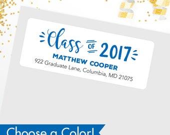 Graduation Address Labels / Class of 2017 Address Labels - Glossy Finish - Sheet of 30