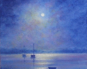 Boats By Moonlight II