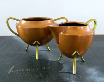 Swedish Arts and Crafts Brass and Copper Mixed Metal Creamer and Sugarer Scandinavian 1920s Signed Marked