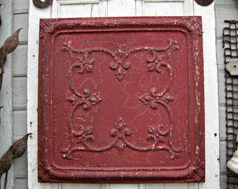 FRAMED Tin Ceiling Tile. 2x2.  Antique Architectural salvage from Kansas. Vintage Pressed tin tile. Red metal wall decor