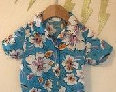Vintage Toddler Aloha Blue Hawaiian Tiki Shirt, size 3T