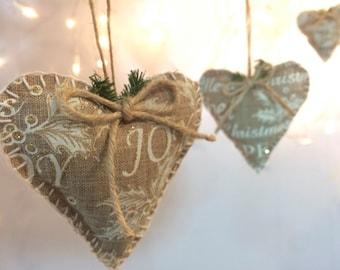 Rustic Christmas Hearts Christmas Joy Noel Set of 3