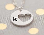 Personalized Heart Necklace, Small Heart Necklace, Heart Monogram Charm, Girlfriend Gift Idea for Her