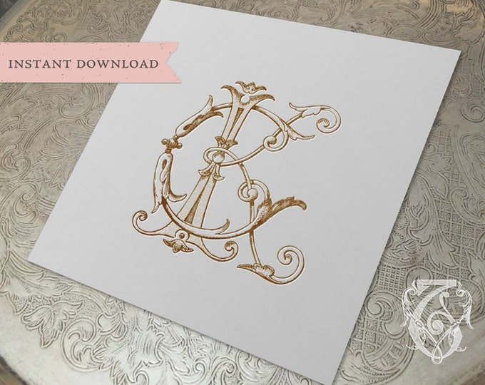 Vintage Wedding Monogram KC CK Digital Download K C