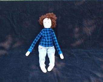 Boy fabric doll - brown hair