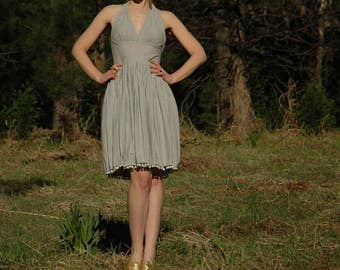 Size XXS... Upcycled Cotton Seersucker Summer Dress... Halter Top... Pom Pom Trim