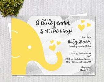 Elephant Baby Shower Invitation, Yellow and Grey Gender Neutral Little Peanut Elephant  Invitation, Printable Digital File 3916