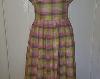Vintage 1950s Pastel Pink Plaid Cotton Dress