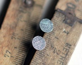 Silver disc studs textured oxidized silver post earrings minimal everyday