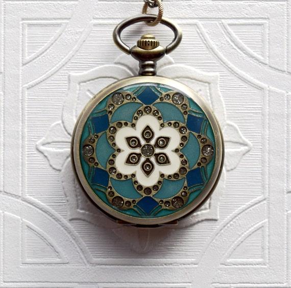 Pocket Watch Locket Pendant Necklace Set Teal Turquoise Blue & Emerald Floral Lotus Mandala