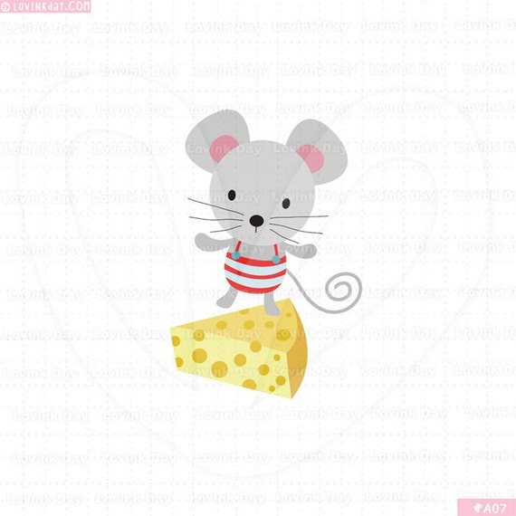 Mouse and Cheese Clip Art -  A07