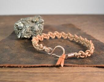 Men's Leather Hook Bracelet - 14k Rose Gold Fill with Leather Band