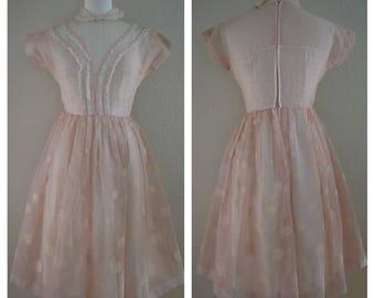 1950s Pink Polka Dot Tea Party Dress