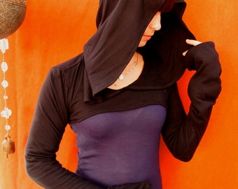 NEW- The Black Cotton Knit Hooded Shrug by Opal Moon Designs (size XL or XXL)