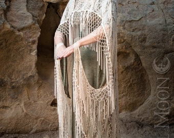 """Specialty: The """"Antique Wedding"""" Hooded Ivory Lace Cape with Long Fringe Trim by Opal Moon Designs (One Size)"""