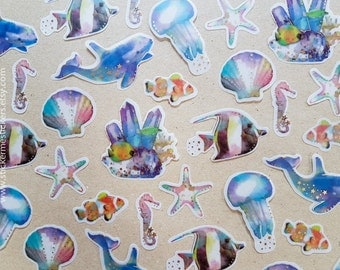 SEA CREATURE stickers with Gold Accents, Whale sticker, Jellyfish sticker, Fish sticker, Coral sticker, Snorkling - Poste Lippe stickers