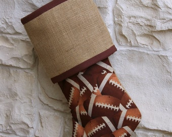 Football Christmas Stocking, Cotton and Burlap, Sports, Brown, Gift for Guy, Coaches Gift, Christmas Decoration, NFL, Touchdown, Quarterback