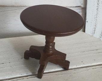 Miniature End Table, Round Walnut Wood Table, #91, Dollhouse Miniature Furniture, 1:12 Scale, Wood Table, Miniature Table, Round Table