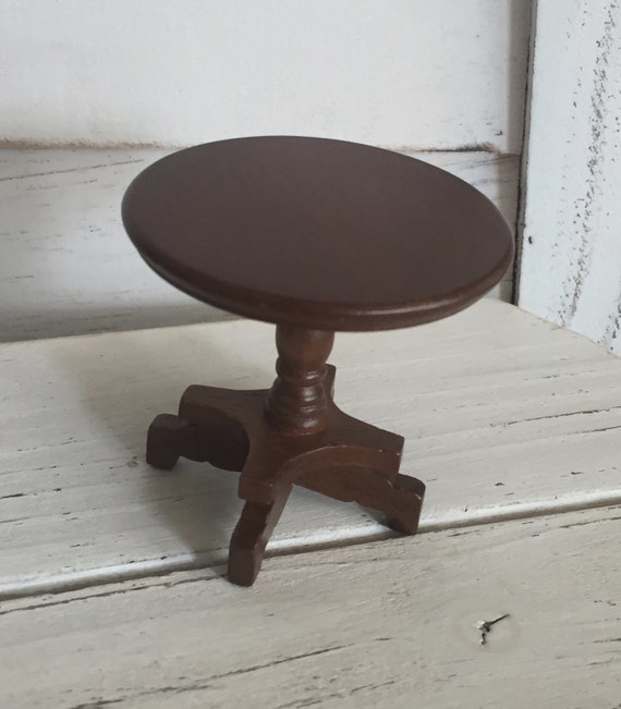 Miniature End Table, Round Walnut Wood Table, Dollhouse Miniature Furniture, 1:12 Scale, Wood Table, Miniature Table, Round Table