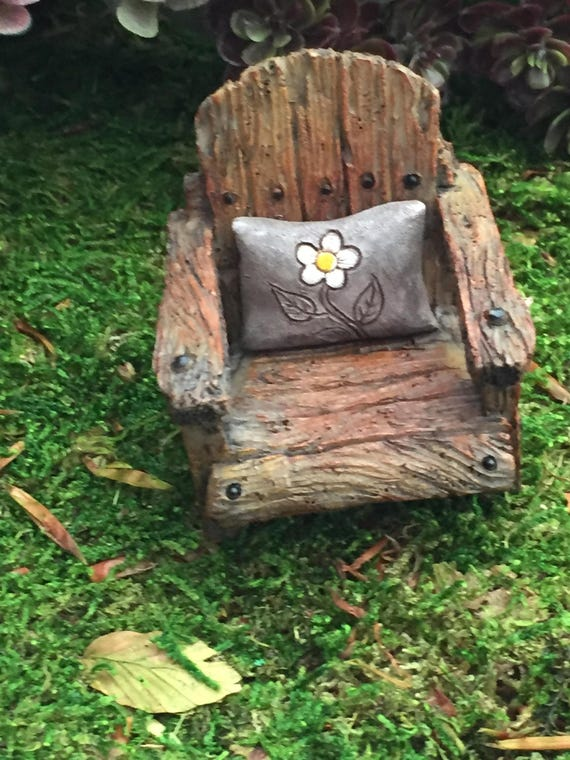 Mini Chair With Attached Daisy Pillow, Weathered Wood Look Chair, Fairy Garden Chair, Miniature Home and Garden Decor, Gray Daisy Pillow