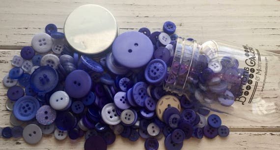 """Hand Dyed Buttons, """"Periwinkle Garden"""", Mixed Buttons, 200 Buttons, Plastic Mini Mason Jar by Buttons Galore, 2 & 4 Hole Assortment"""