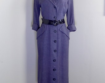 Vintage 1940's-1950's PAUL SACHS ORIGINAL Custom Sheath Dress-Designer Hourglass Day Dress-M