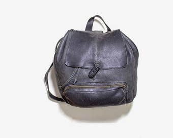 FLASH SALE Vintage Leather Backpack / Medium Black Leather Backpack / Drawstring Backpack / Leather Rucksack