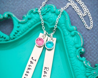 Silver Nameplate Necklace • Bar Necklace • Birthday Gift • Birthstone Necklace • Secret Sister • Children Names • Long Tags