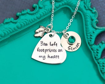 FREE SHIP • Baby Loss Gift Infant Loss Jewelry Stillborn Gift • Remembrance Necklace Memorial Child Loss Necklace Condolence Gift Footprint