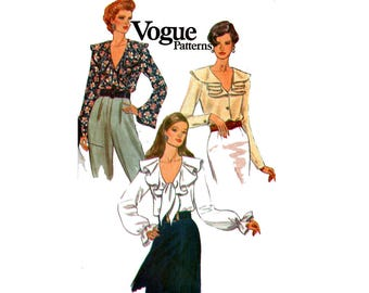90s Vogue 8702 Womens Ruffled Steampunk Blouse Vintage Sewing Pattern Size 12 14 16 Bust  34 36 38 inches UNCUT Factory Folded