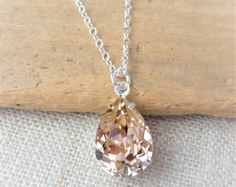 Champagne Swarovski Crystal Necklace, Silk Teardrop Sterling Silver Necklace, Bridesmaid Gifts, Bridal Jewelry, Crystal Pear Drop