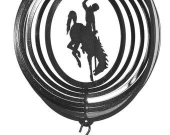 U of Wyoming WYO Cowboys Cowgirls Bucking Bronco Black COMBO Mini Swirly Metal Wind Spinner