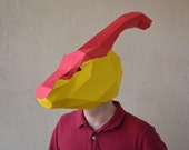 Parasaurolophus with Open Mouth Paper Mask Pattern & Dinosaur Tail Pattern Included